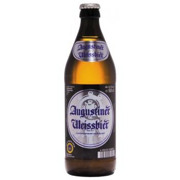 Пиво Августинер Вайссбир светлое, нефильтрованное, непастеризованное. алк. 5,4% 0,5 х 18 бут. / Германия