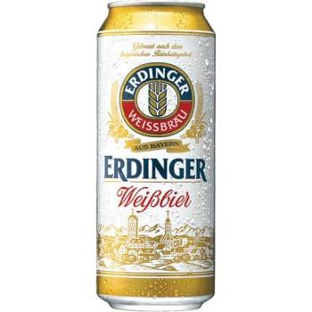 Пиво Эрдингер (БАНКА) светлое нефильтр. 0.5 x 24 алк. 5,3% /Erdinger, Германия.