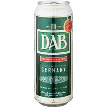 Пиво ДАБ светлое фильтр. пастериз. 0,5 л. х 24 БАНКА алк. 5,0 % / DAB / Германия.