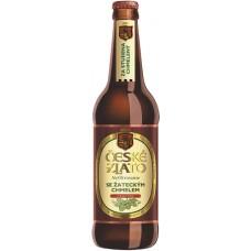"""Пиво светлое нефильтрованное неосветленное,пастеризованное CESKE ZLATO NEFILTROVANE """"Чешске злато"""" 4.0 % 0,5л х20 ст.бут"""