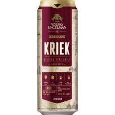 Пивной напиток VOLFAS ENGELMAN KRIEK (ВОЛЬФАС ЭНГЕЛЬМАН КРИК) с вишневым соком темный фильтров. алк. 4,0% 0,568 x 24 БАНКА /Литва