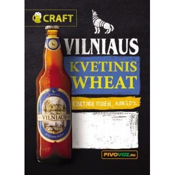 Пиво светлое нефильтрованное VILNIAUS Kvetinis (Вильнюс Кветинис) алк 5.0% /Литва/ 30 л./Пэт-Кег