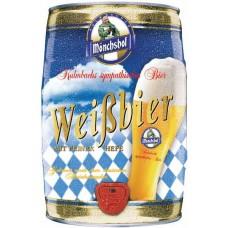 Пиво Мюнхоф Вайсбир светлое нефильтрованное непастеризов. 5.4 % 5л БОЧКА / MONCHSHOF WEISSBIER