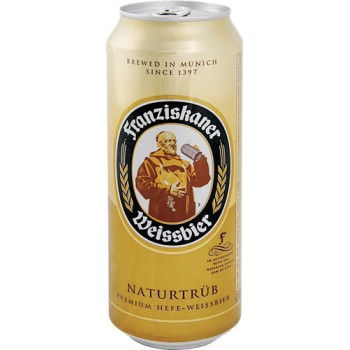 Пиво Францисканер Хефе Вайс 0.5х24 /БАНКА/. 5,0%/Franziskaner Weiss