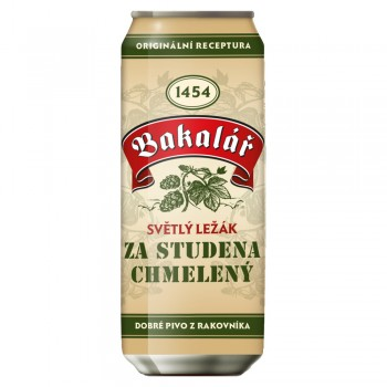 Пиво Bakalar Za Studena Chmeleny (Бакалар холодного охмеления) светлое 0,5 л х 24 ж/б