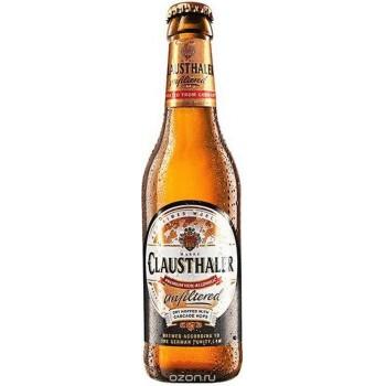 Пиво Clausthaler Unfiltered Non-Alcoholic (Клаусталер нефильтрованное безалкогольное) светлое 0.33 л x 24 ст.бут.