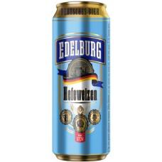 Пиво Edelburg Hefeweizen (Эдельбург Хефевайцен) светлое нефильтрованное 0.5л ж/б
