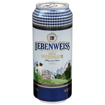 Пиво Liebenweiss Hefe-Weissbier (Либенвайс Хефе Вайссбир) светлое нефильтрованное 0,5 л х 24 ж/б