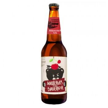 Пивной напиток Волковская Пивоварня Мишенька под вишенкой пастеризованный нефильтрованный осветленный 0,45 л x 20 ст.бут.