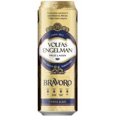 Пиво Volfas Engelman Bravoro (Вольфас Энгельман Браворо) светлое фильтрованное 0,568 л х 24 ж/б