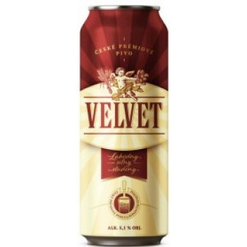 Пиво Velvet (ВЕЛЬВЕТ) полутемное фильтр. пастер. алк. 5,1% 0,44 x 24 БАНКА / Velvet / Чехия