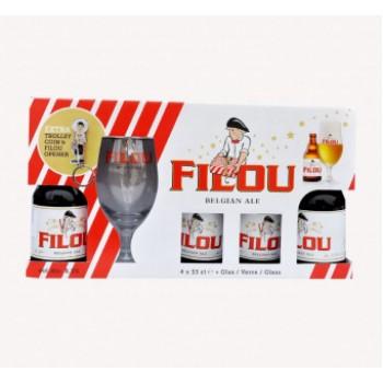 НАБОР пиво Filou (Филу) 0,33 л х 4 ст.бут.+ 1 бокал