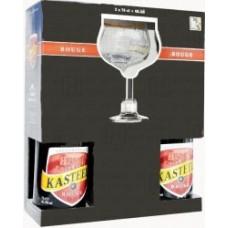 НАБОР пиво Kasteel Rouge (Кастил Руж) 0,75 л х 2 ст.бут.+ 1 бокал