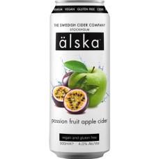 Сидр Alska Passion Fruit Apple (Альска яблоко маракуйя), 0.5 л х 24 ж/б алк. 4.0%