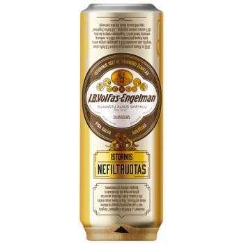 Пиво Volfas Engelman Istorinis Nefiltruotas (Вольфас Эльгельман Историнис Нефильтруотас) светлое нефильтрованное 0.568л ж/б