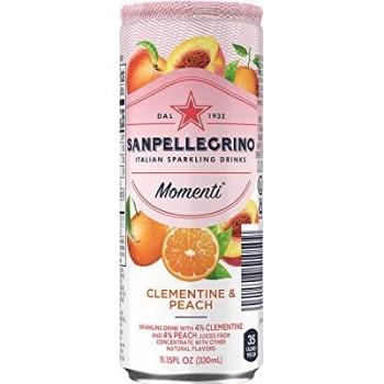 Напиток Sanpellegrino Momenti Clementine & Peach (Сан Пеллегрино Моменти Клементин и персик) газированный сокосодержащий 0.33л ж/б