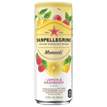 Напиток Sanpellegrino Momenti Lemon & Raspberry (Сан Пеллегрино Лимон и Малина) газированный сокосодержащий 0.33л ж/б