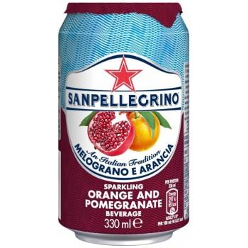 Напиток б/алк Сан Пеллегрино Апельсин-Гранат газ сокосодержащий (БАНКА) 0,33 x 24 ж/б /Sanpellegrino Melograno e Arancia
